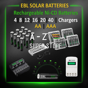 EBL Solar Rechargeable Batteries AA or AAA Ni-CD 500mAh or 1100mAh All Count lot