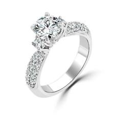Cz Engagement Wedding Bridal Ring Size 6 6.2 Cw Round Cut Solitaire Pave Set