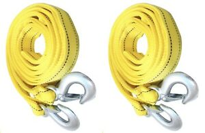 2 pack 3 Tons Car Tow Cable Towing Strap Rope With 2 Hooks Emergency Heavy Duty