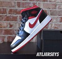 Nike Air Jordan 1 Mid GS White Gym Red Black DJ4695-122 Size 3.5Y-7Y