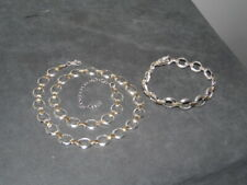 "FAS 925 THAI. Sterling Silver 2-Tone Oval Link 19.5"" Necklace+7.5"" Bracelet Set"