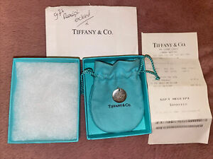 Tiffany & Co Sterling Silver Rare Round Charm Pendant For Necklace Or Bracelet