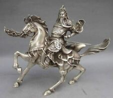 chinese old copper plating silver Warrior God Guan Yu & Horse Statue