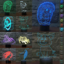 Abstractive 3D LED Animal Optical Illusion Lamp 7 Color Touch USB Birthday Gift
