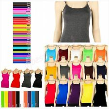 Womens Summer soft Cotton Adjustable Spaghetti Strap Tank Top Cami sizes S, M, L