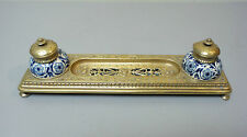 "UNUSUAL ANTIQUE FRENCH GILT BRASS INKSTAND w/ DOUBLE ""DELFT"" POTTERY INKWELLS"