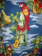 Vtg Rare 80's HILO HATTIE XL Hawaiian Shirt Parrots Tiki Guitars MADE IN HAWAII