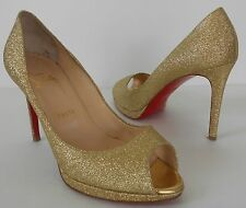 Christian Louboutin Gold new simple pump 100mm Sz 38 1/2