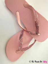 Havaianas flip flops sandal with Swarovski Crystal Wedding Bride Blush Rose