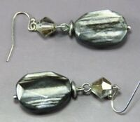 Vintage GRAY SHIMMER FACETED BEAD Dangle Earrings CRYSTAL DROP TRIM Silver Tone