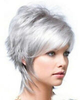 2017 Fashion wig New Charm Women's Short Silver Gray Full wig/wigs