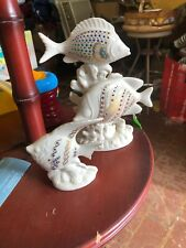Excellent Vintage Large Lenox China Jewels Collection 2 Fish Figurine Ca. 1993
