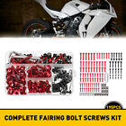 Red Motorcycle Complete Fairing Bolt Kit Body Screw Set Replacement Parts OXILAM