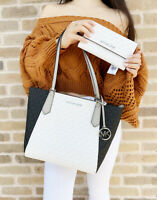 Michael Kors Kimberly Small Bonded Top Zip Tote White MK + Large Trifold Wallet