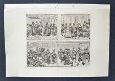 Gravure Originale XIXème - Autel d'Argent du Baptistère de Florence - P. Laurent