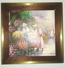 """John Hansen Paris Flower Market Scene signed oil painting 4 3/4 x 4 3/4"""""""