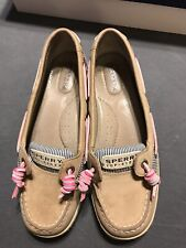 Sperry Top Sider womens 6 Angelfish Linen Leopard Pink Boat Shoes Leather W/ Box