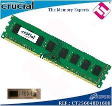 MEMORIA RAM 2GB DDR3 1600 MHZ CRUZIAL MICRON DIMN 240 PINES 12800 CL11 1,35V