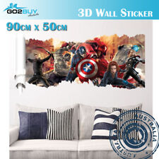 3D Wall Stickers Removable The Avengers Iron Man Hulk Broken Wall Kid Boy Room C