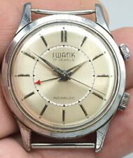 VINTAGE SWANK WRIST MECHANICAL ALARM WATCH WORKS AND KEEPS TIME 17J