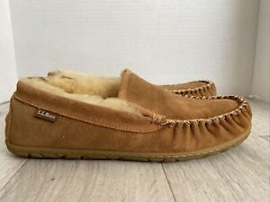 LL BEAN Men's  Brown Shearling Lined Wicked Good Venetian Slippers Sz 11  M