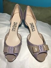 SALVATORE FERRAGAMO Nude Patent Leather Peep Toe Pumps Size US 10.5