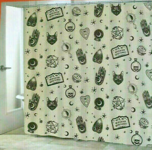 Ouija Mystic Potion Fabric Shower Curtain Halloween Mysticism Gray Black Skulls