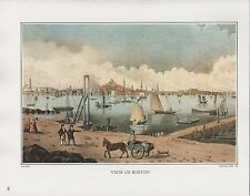 """1972 Vintage Currier & Ives """"VIEW OF BOSTON HARBOR 1848"""" COLOR Print Lithograph"""