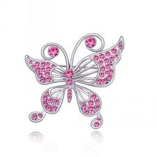 18K WHITE GOLD PLATED AND GENUINE CZ & AUSTRIAN CRYSTAL PINK BUTTERFLY BROOCH