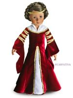 "Doll Clothes SLIM 18"" Dress Red Velvet Maiden Avalon Shoes Headpiece Slim Dolls"