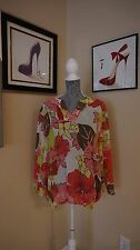 Beautiful Floral print in corals pinks greens browns & white Chico's sz 3 tunic