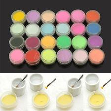 24 tlg Mischung Farben Nagel Kunst Tips Acryl Puder Pulver Nailart Kit Studio