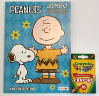 New 2pc Set Peanuts Snoopy Charlie Brown Jumbo Coloring & Activity Book, Crayons
