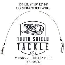 5 Pack 135 Lb 1x7 Stranded Stainless Steel Musky Leaders Ball Bearing Muskie