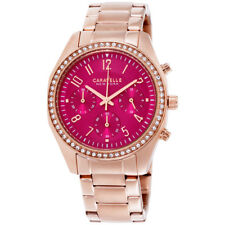 Caravelle Pink Dial Stainless Steel Ladies Watch 44L223