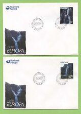 Faroe Island 1999 Europa - Waterfalls on two First Day Covers