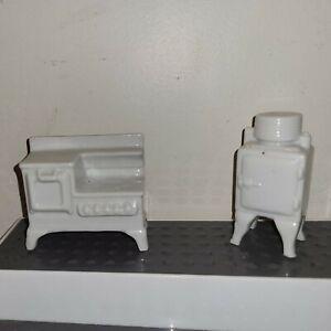 VINTAGE DOLLHOUSE MINIATURE PORCELAIN KITCHEN SET JAPAN Stove & Refrigerator