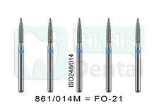 10Pcs Dental Diamond Burs FG Flame 861/014M FO-21 Standard Grit High Speed
