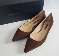 $395 RALPH LAUREN COLLECTION Brown Kidsuede Ballet Flats Shoes US-8 EUR-38