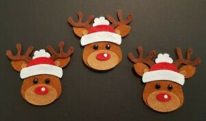 X3 Handmade Felt Reindeer (Rudolph) Embellishments.Christmas embellishments