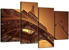 Paris Eiffel Tower Brown Canvas Pictures Set 130cm Wide Sepia XL 4013