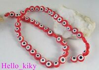 3 Strands Red lampwork glass beads flat round M1926