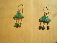 Vintage 10K yellow gold elegant ruby & jadeite jade dangly earrings Pair