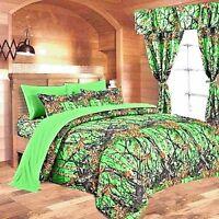 12 pc set Biohazard Woods Camo Queen size comforter sheets pillowcases curtains