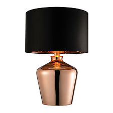 Endon Waldorf table lamp 60W Copper plated glass & black faux silk