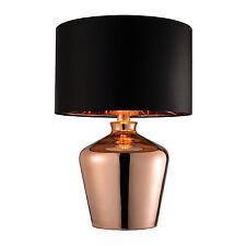 Endon Waldorf Lámpara de MESA 60w encobrado Cristal & Negro Seda Artificial