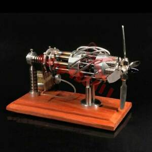 Creative 16 Cylinder Hot Air Stirling Engine Motor Model Aircraft Propeller Toy