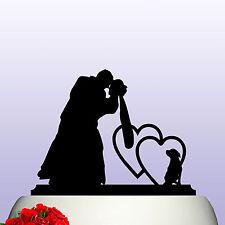 Acrílico Novia & Novio Y Perro Acrílico Wedding Cake Topper Decoración y recuerdo