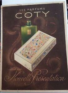 PERFUME. Cartón publicidad anterior para PARFUMS COTY ,1940-1950.