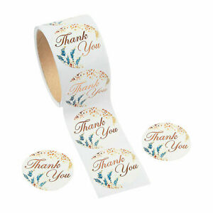 Sweet Fall Thank You Stickers ~ Roll of 100 Stickers ~ Rose Gold ~  2 Inch